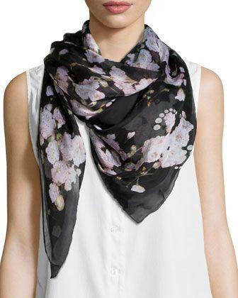 c0279ad5 Baby's Breath Silk Scarf Black/Pink | Scarves, scarves, scarves ...