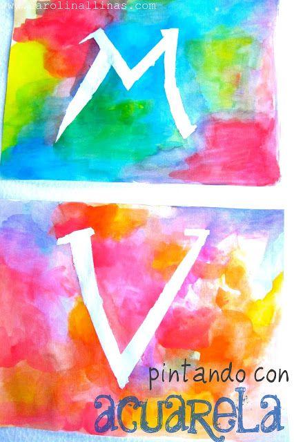 Nuestro mundo creativo letras con acuarela tecnicas - Letras decorativas para ninos ...