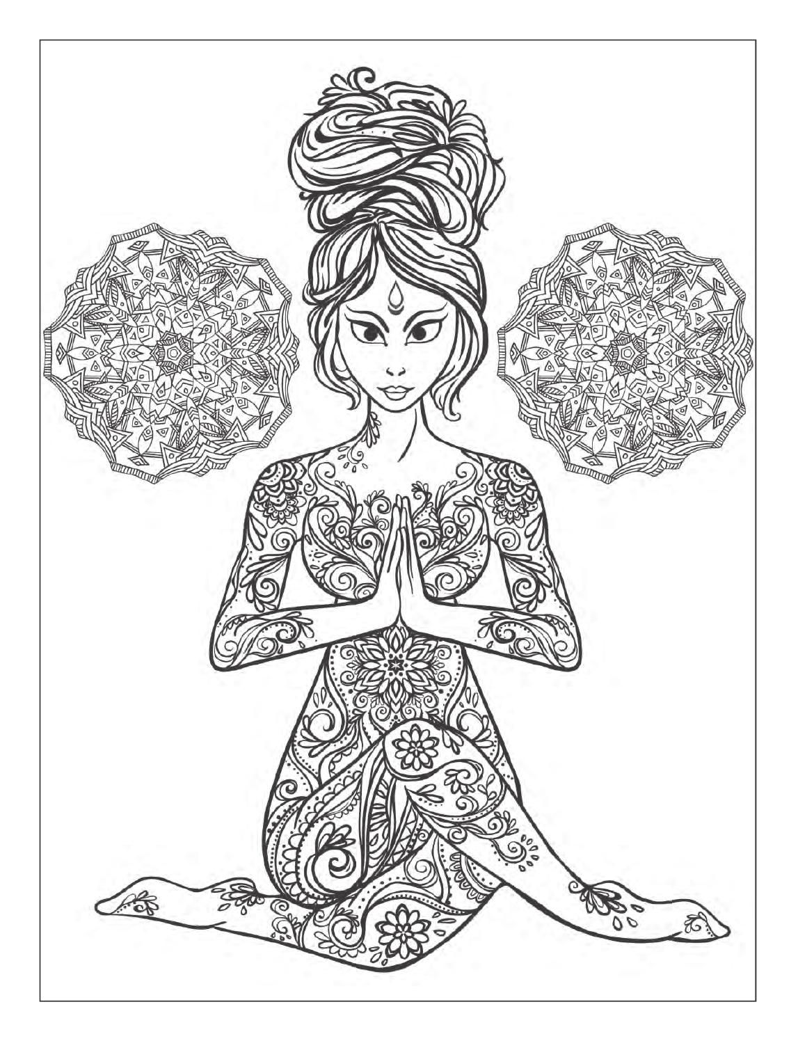 Coloring pages yoga - Yoga And Meditation Coloring Book For Adults With Yoga Poses And Mandalas
