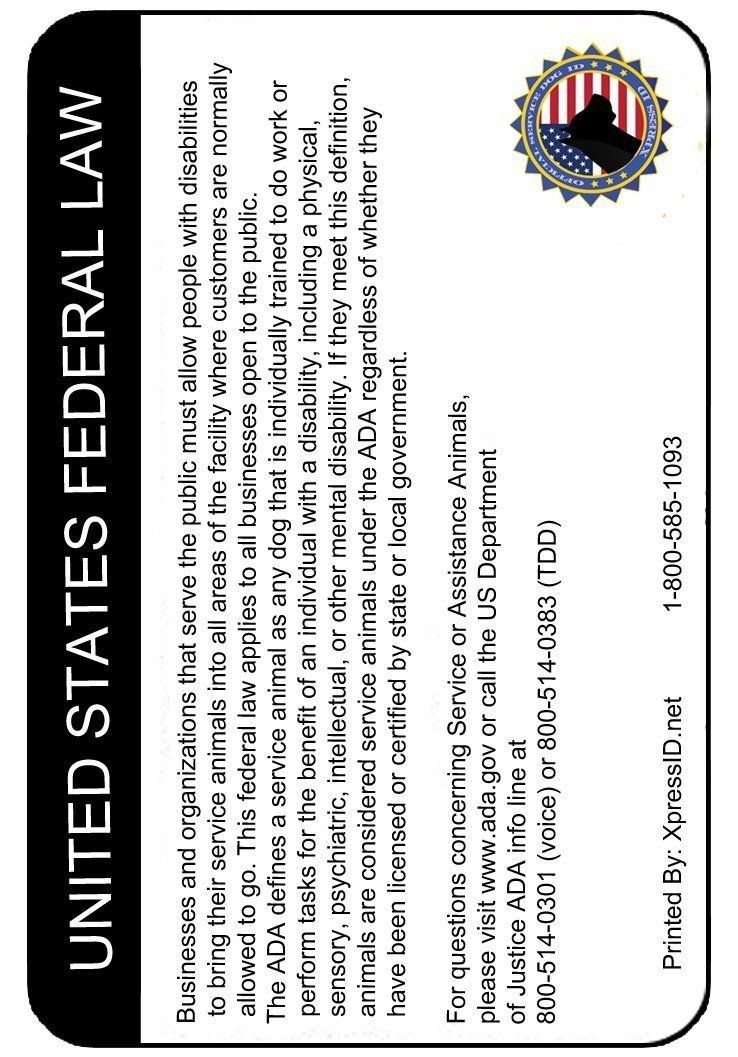 Includes Registration to National Dog Registry XpressID Custom Holographic Service Dog ID and Handler ID