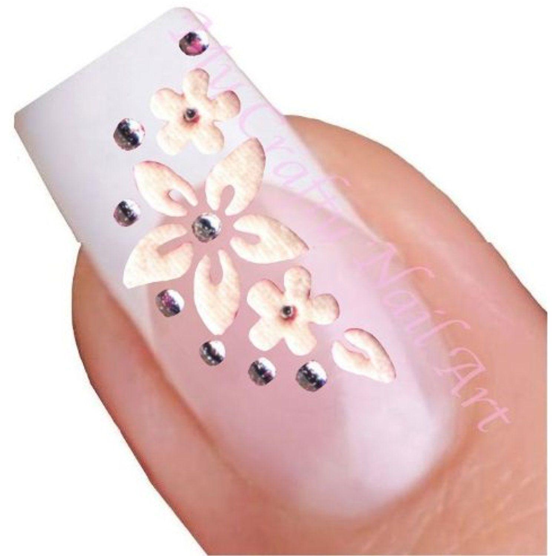 White Flower Rhinestone Flowers Nail Art Decal / Tattoo / Sticker ...