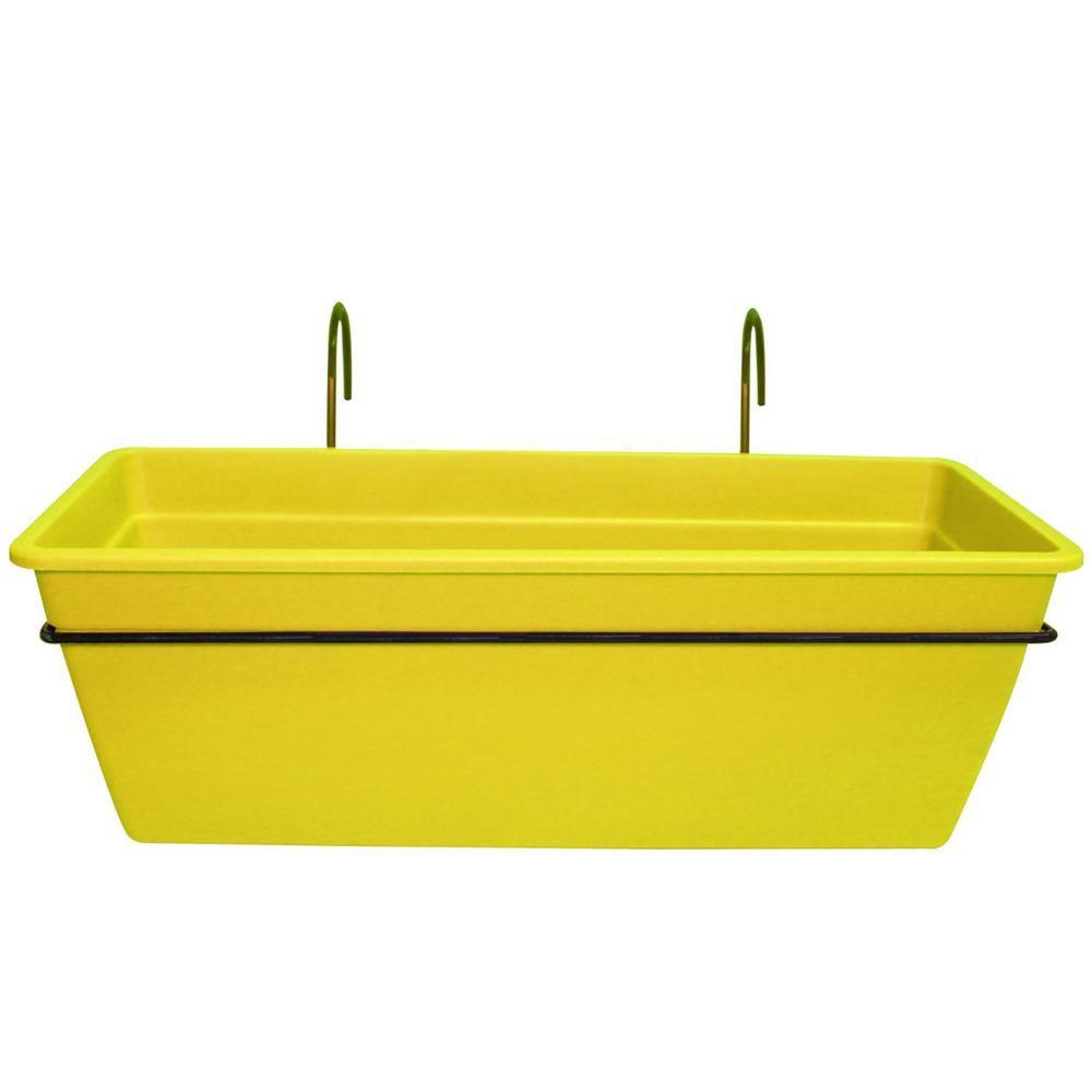 Kit gefen planter for railing yellow plastic planter
