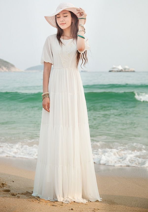 white beach dress | images of White Summer Dress Long Chiffon ...