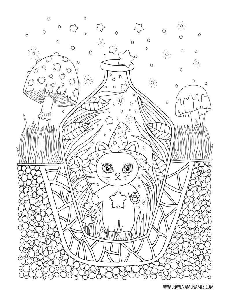 Autumn Magic Edwina Mc Namee Cat Coloring Book Halloween Coloring Pages Cute Coloring Pages
