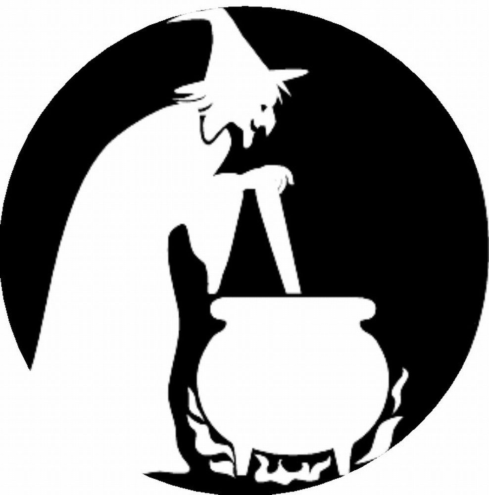 Scary pumpkin stencils witch with cauldron playsational for Witch carving pattern for pumpkins