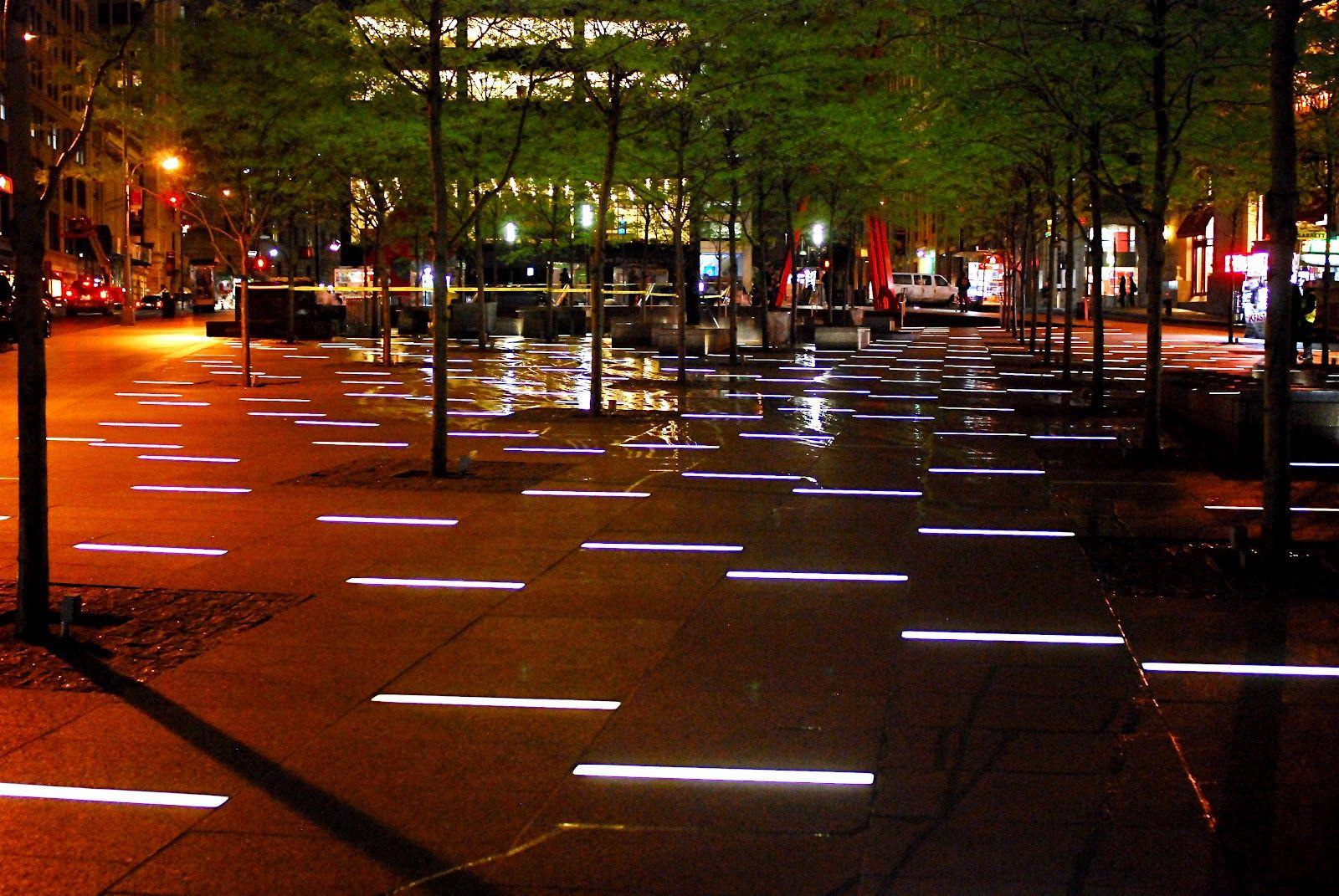 Zuccotti Park New York City Led Strip Paving Lights After Dark Creative Landscape Dark Modern Urban Lighting