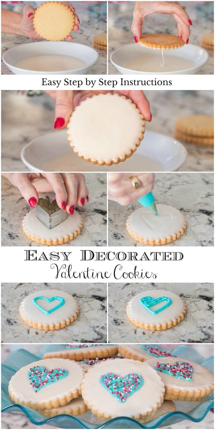 Easy Decorated Valentine Cookies Receta Glaseado Para Galletas Receta De Galletas De Azucar Galletas Decoradas Fiesta