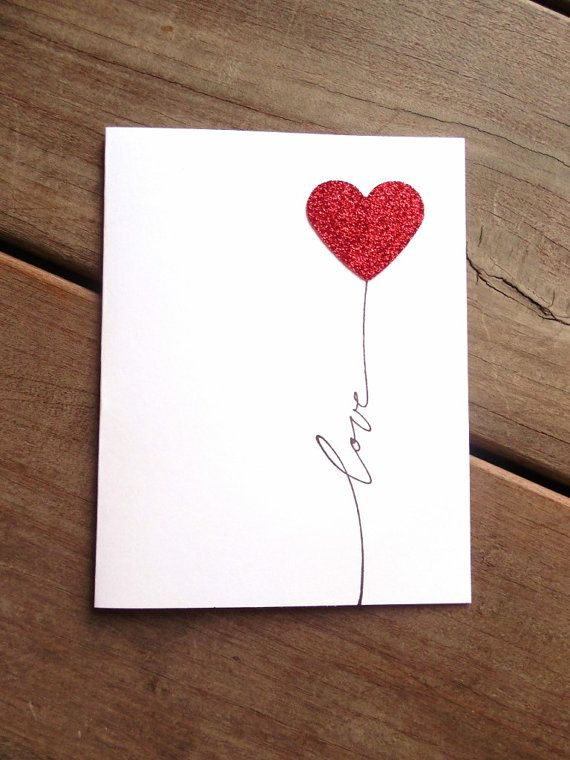 Valentine S Day Card Simple Valentines Card Love Card Glitter