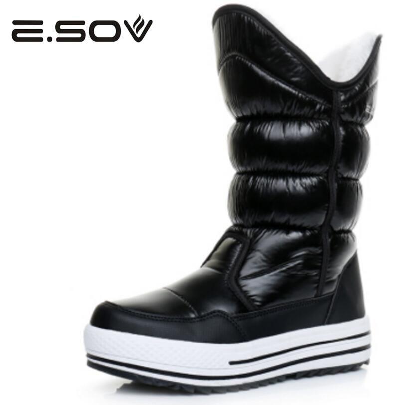 Women's Winter Platform Flat Shoes Slip Resistant Ladies Zipper Stylish Snow Boots