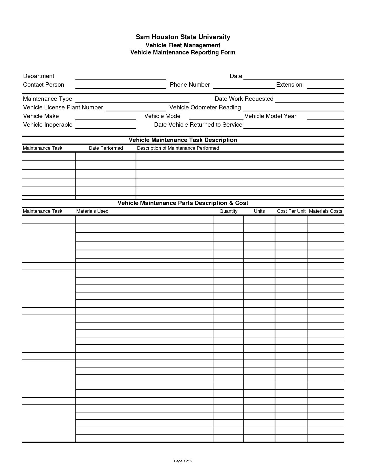 basic auto or vehicle maintenance log template sample vlashed
