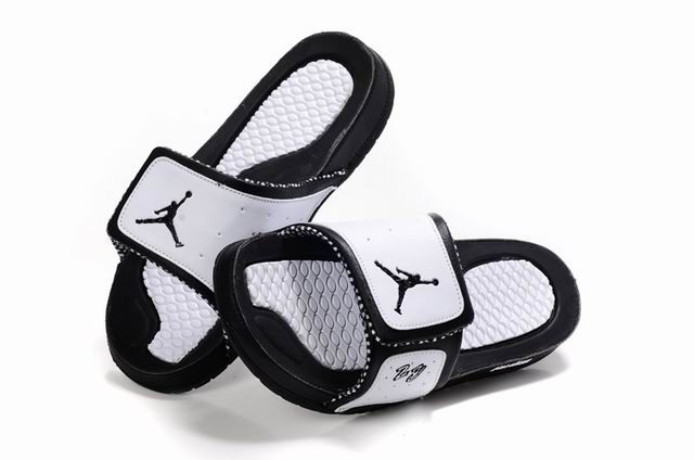 3cfa22ff8c6e2e Air Jordan 10 Massage Slippers White Black