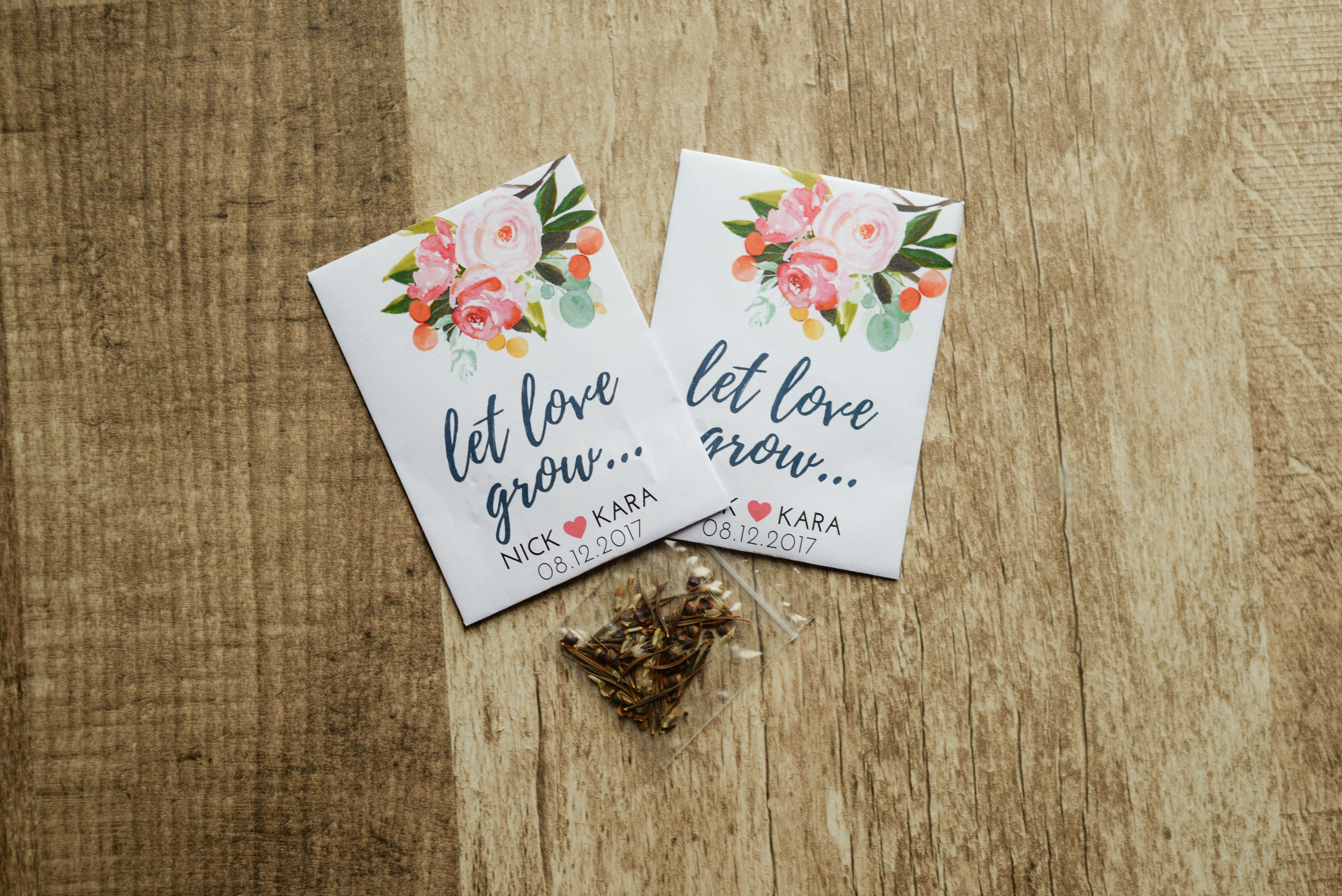 Let Love Grow Custom Seed Wedding Favors 50 Count Sealed With