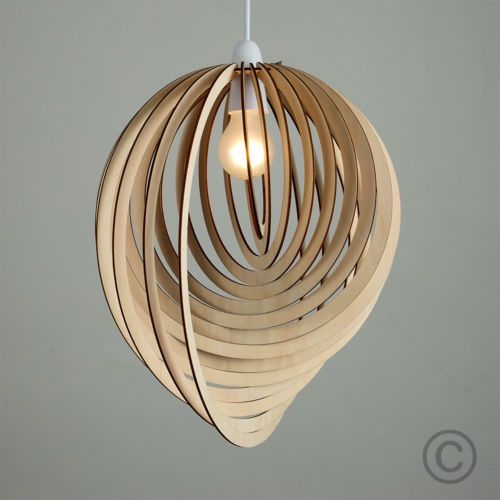 Contemporary Wooden 3d Sphere Droplet Ceiling Pendant Light Shade