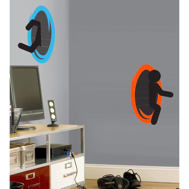 Portal Decal Or RePositionable Wall Cling Set SHIPS FREE The - Portal 2 wall decals