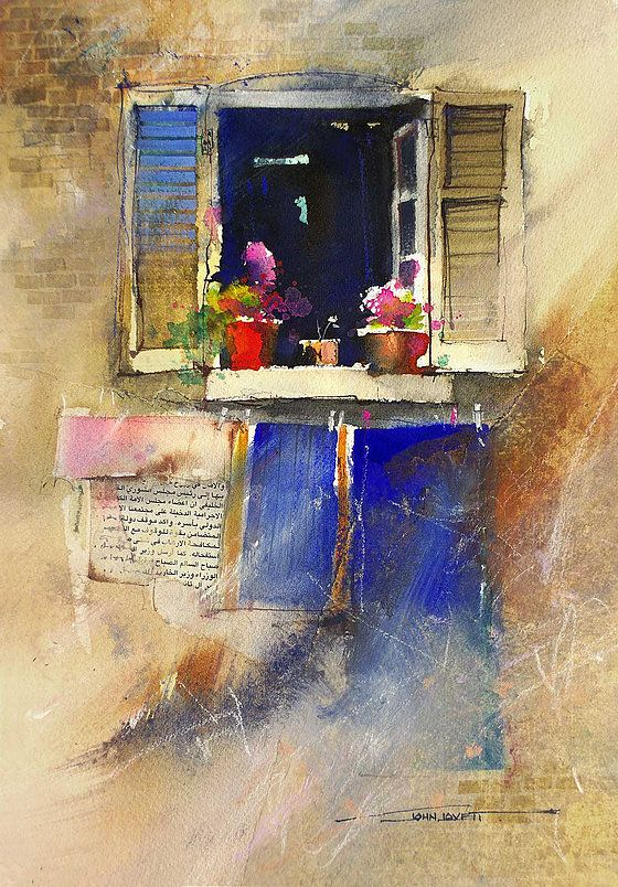Watercolor Painting Of Window With Wide Open Shutters Watercolor