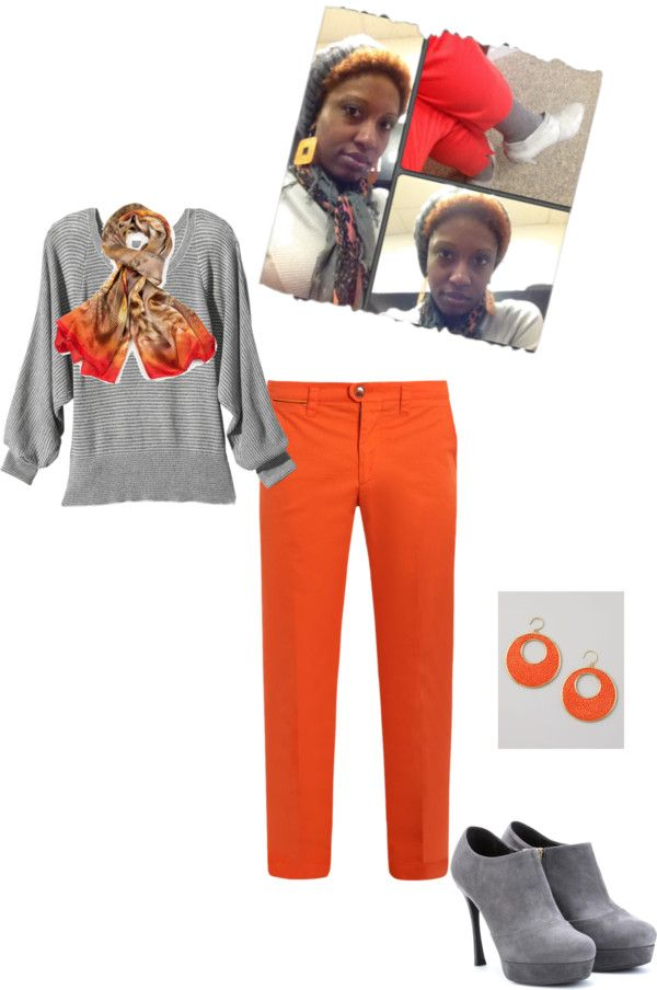 """""""Orange and Shades of Gray"""" by b-ayesha on Polyvore"""