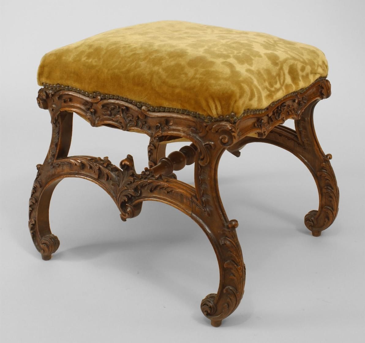 Italian Rococo Style 19th Cent Walnut Square Bench With