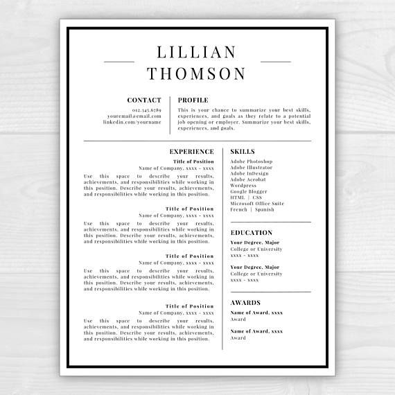 Professional Resume Template for Word \ Pages CV Template Money - free download professional resume format