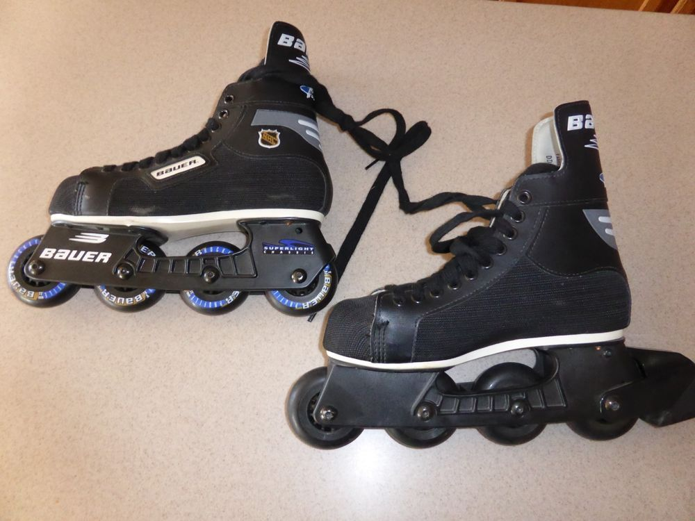 Bauer Nexus N7000 Ice Hockey Skates Converted Into Roller Skates By Attaching A Mission Vang Custom Skates Converse Chuck Taylor High Top Sneaker Roller Skates