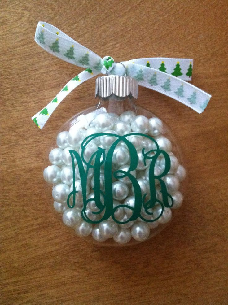 clear ornament with pearls and monogram in 2020