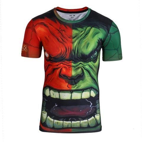 1d7094cf16e67e SuperHero Compression T-Shirt Workout like the Incredible Hulk ...