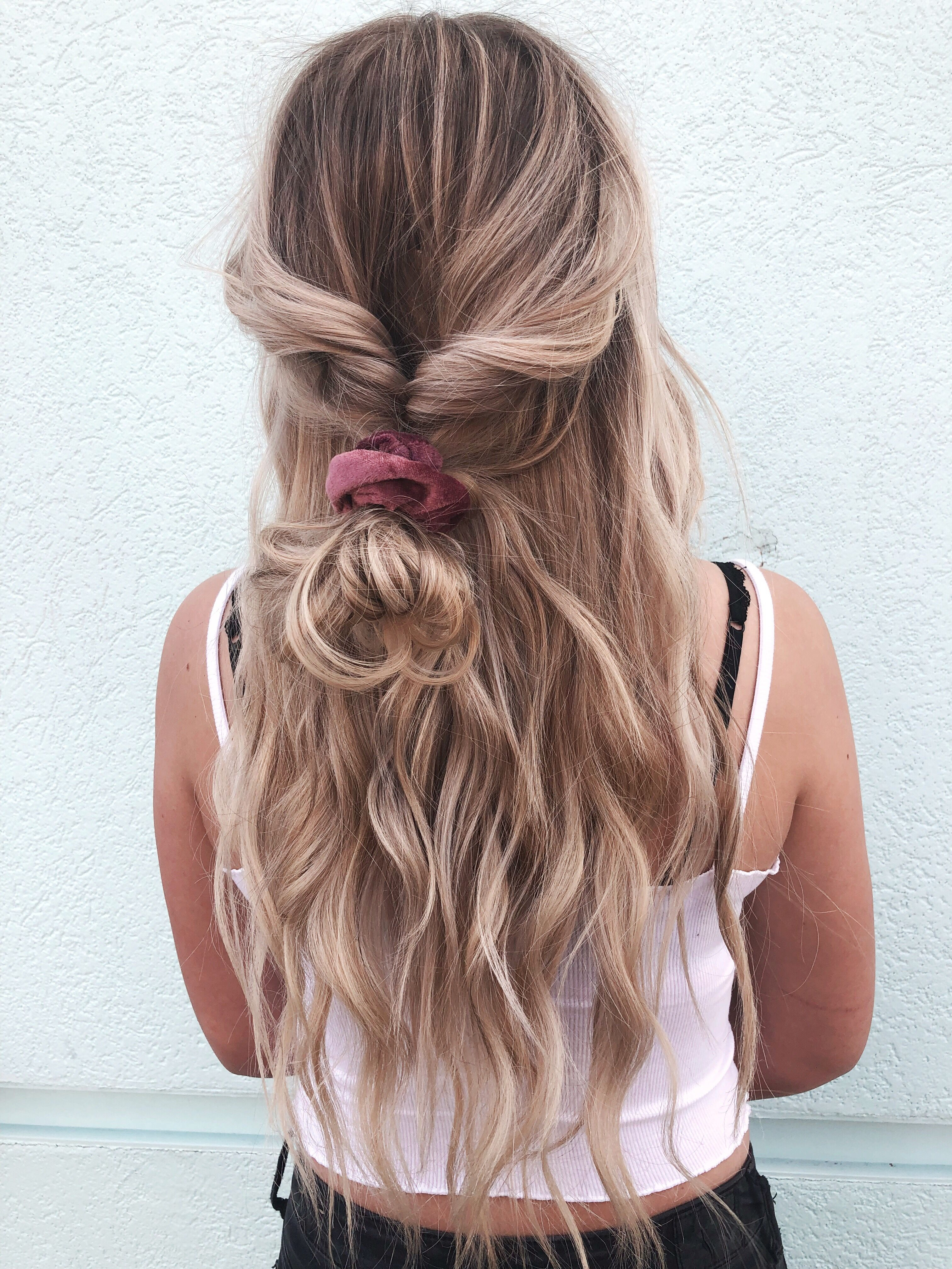 scrunchie hairstyle for long hair | hair 101 in 2019 | long