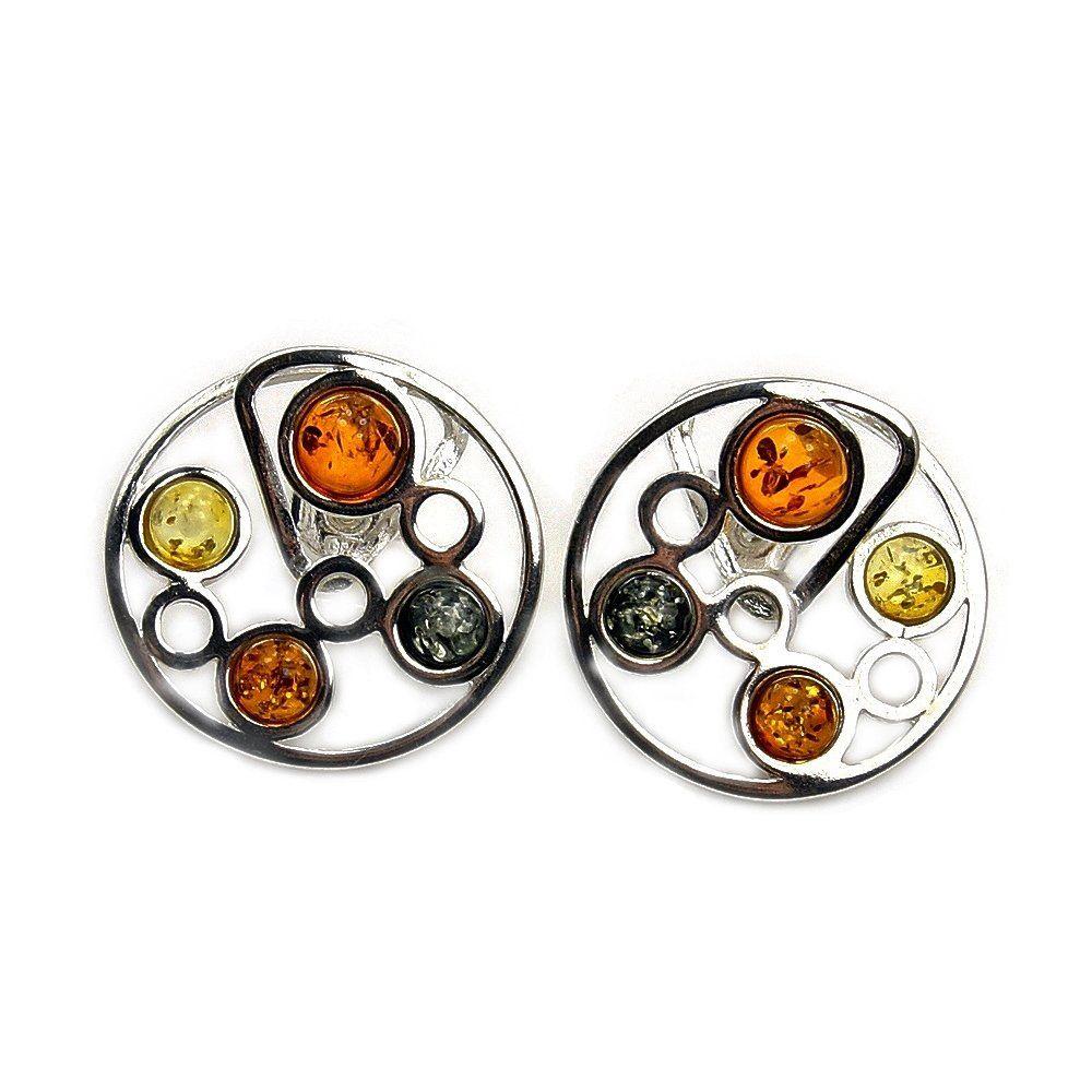 Fantastic Sterling Silver Natural Multicolor Baltic Amber Stud Earrings