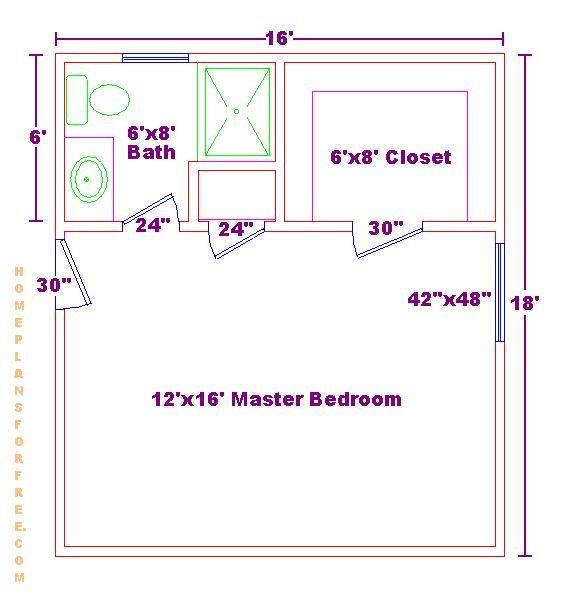 Free 12x16 Master Bedroom Design Ideas Floor Plan With Small 6x8 Bath And Walk In Closet Master Bedroom Plans Bedroom Floor Plans Master Bedroom Addition