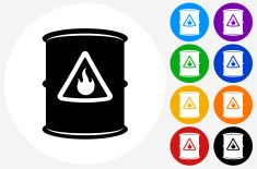 Flammable Icon on Flat Color Circle Buttons vector art illustration