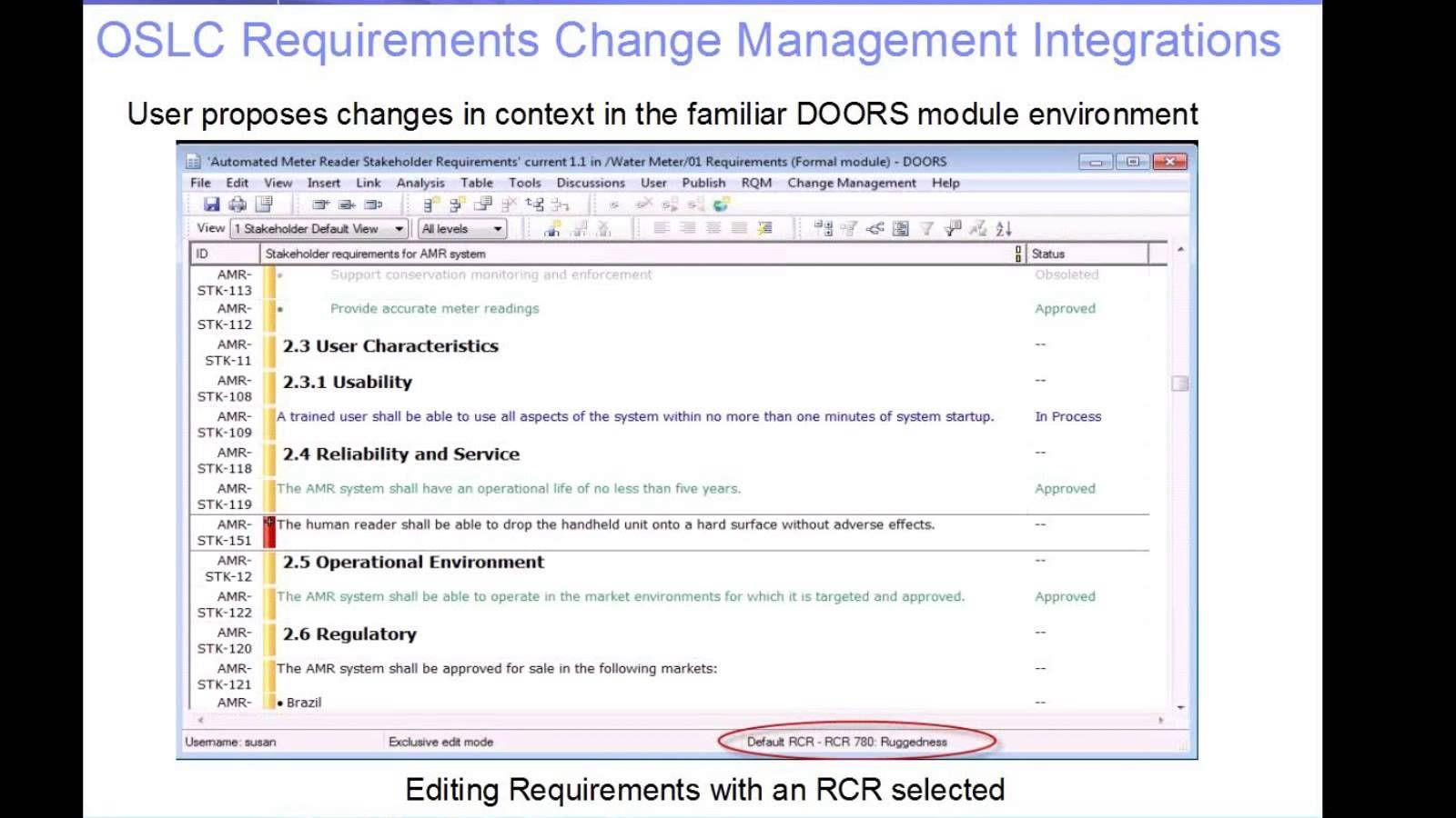 Rational DOORS v9 x: Requirements Change Management Options