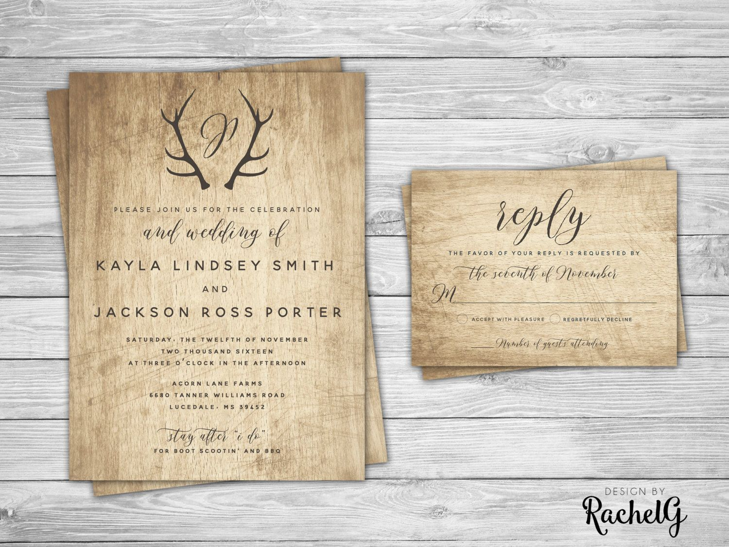 Rustic Wedding Invitation Set Country Barn Wedding Invitation