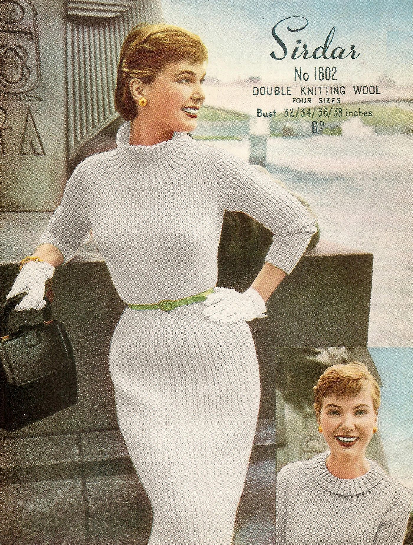 Vintage Lady S Dress Pattern 1950s Three Quarter Sleeves Double Knitting Four Sizes 32 38 Vintage Knittin Knit Dress Pattern Vintage Knitting Vintage Knitwear