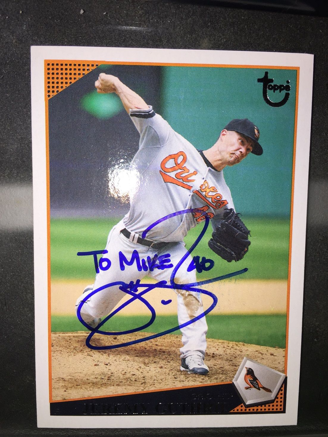 latest autograph through the mail jeremy guthrie pitcher for the
