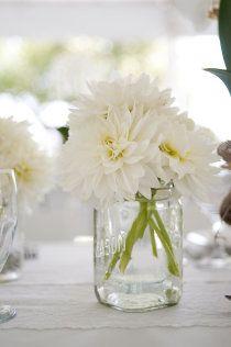 Simple But Cute Centerpiece Idea White Wedding Flowers Wedding