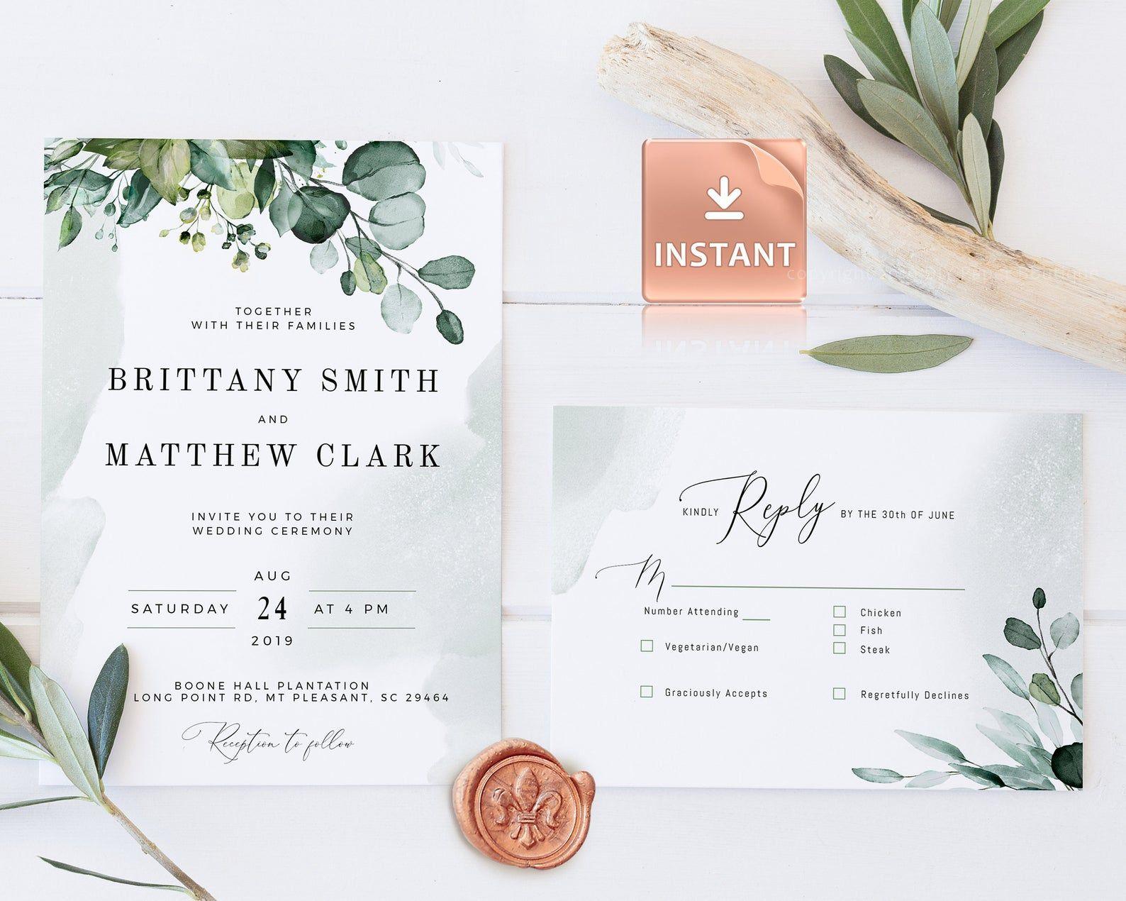 d80f259808db2 BOHEMIAN Wedding Invitation Template with Watercolor Eucalyptus ...