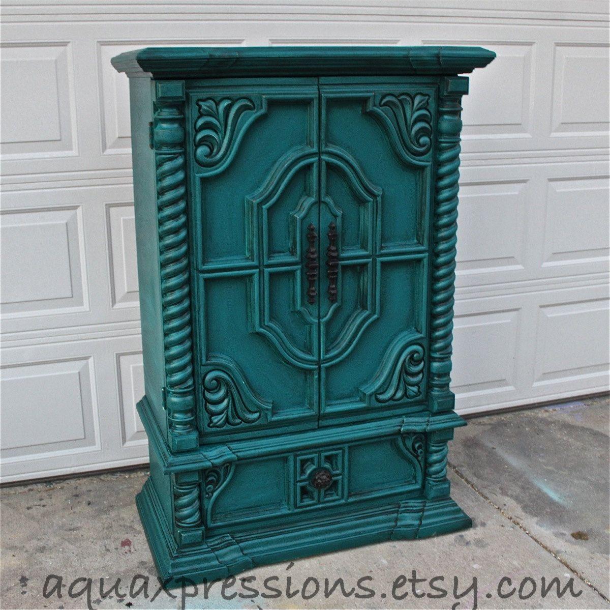 Vintage Armoire /Gypsy Teal / Bedroom Furniture/ Distressed /Black Drawer  Pulls/ TV Stand/ Storage  Custom Paint To Order