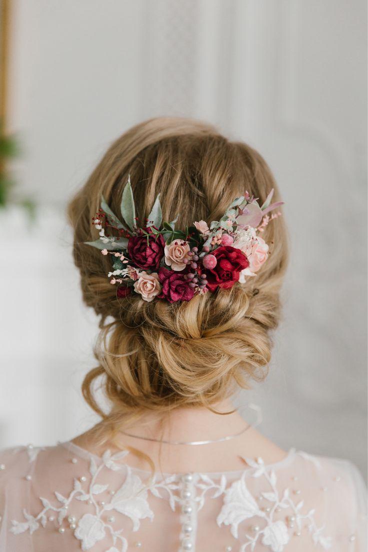 Burgundy flower Hair comb, Burgundy flower hair piece, Fall Bridal hair comb, Wedding hair comb, Bridal flower headpiece, Winter Wedding #bridalhair