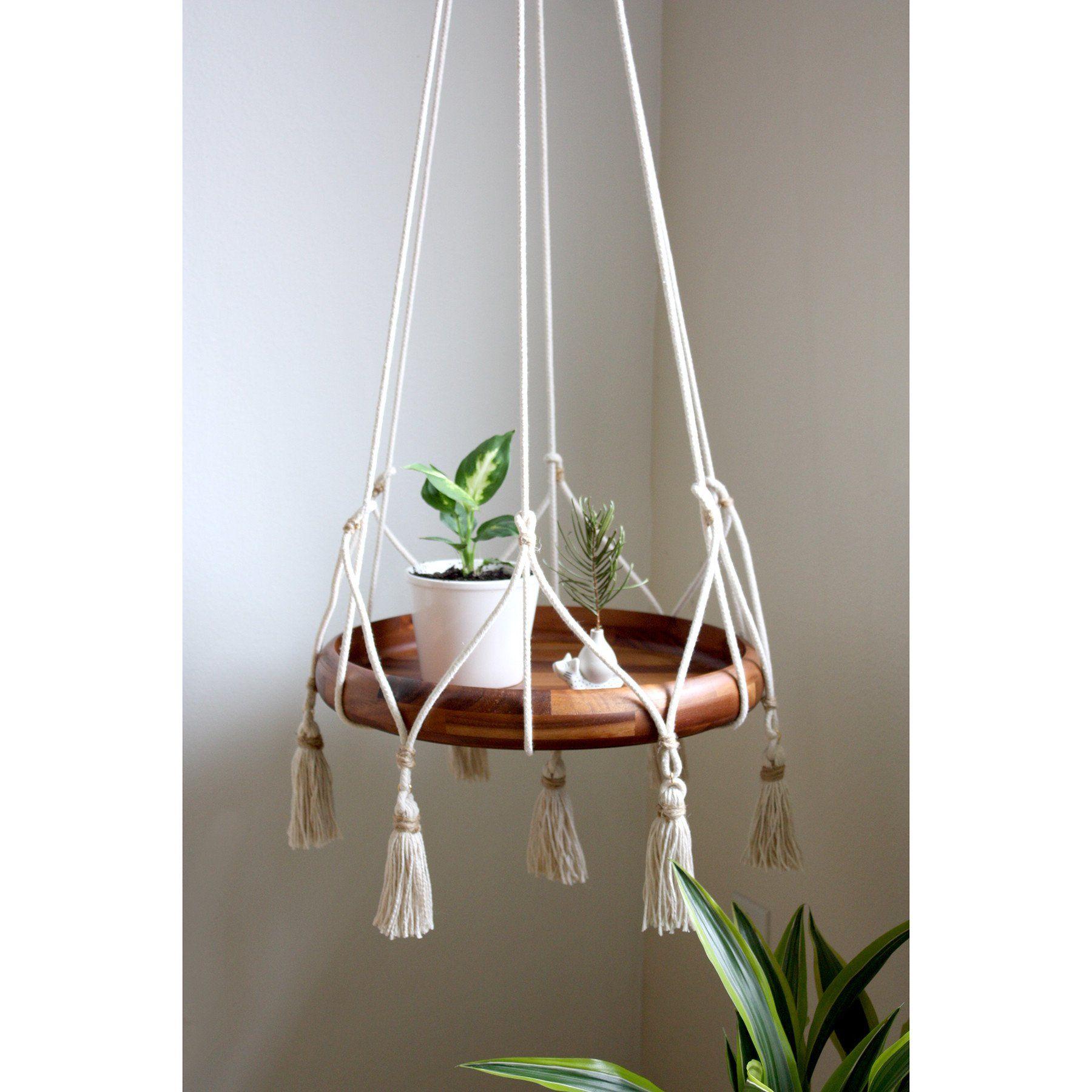 hanging table plant holder with tassels cotton jute wishlist pinterest macrame diy. Black Bedroom Furniture Sets. Home Design Ideas