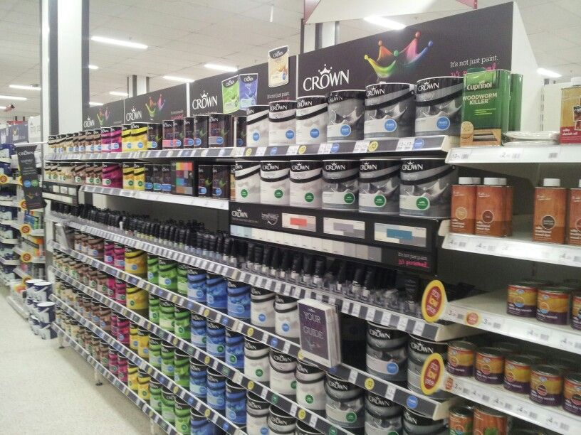 Crown paint brand blocked fixture header boards shelf liners and shelf edge colour charts
