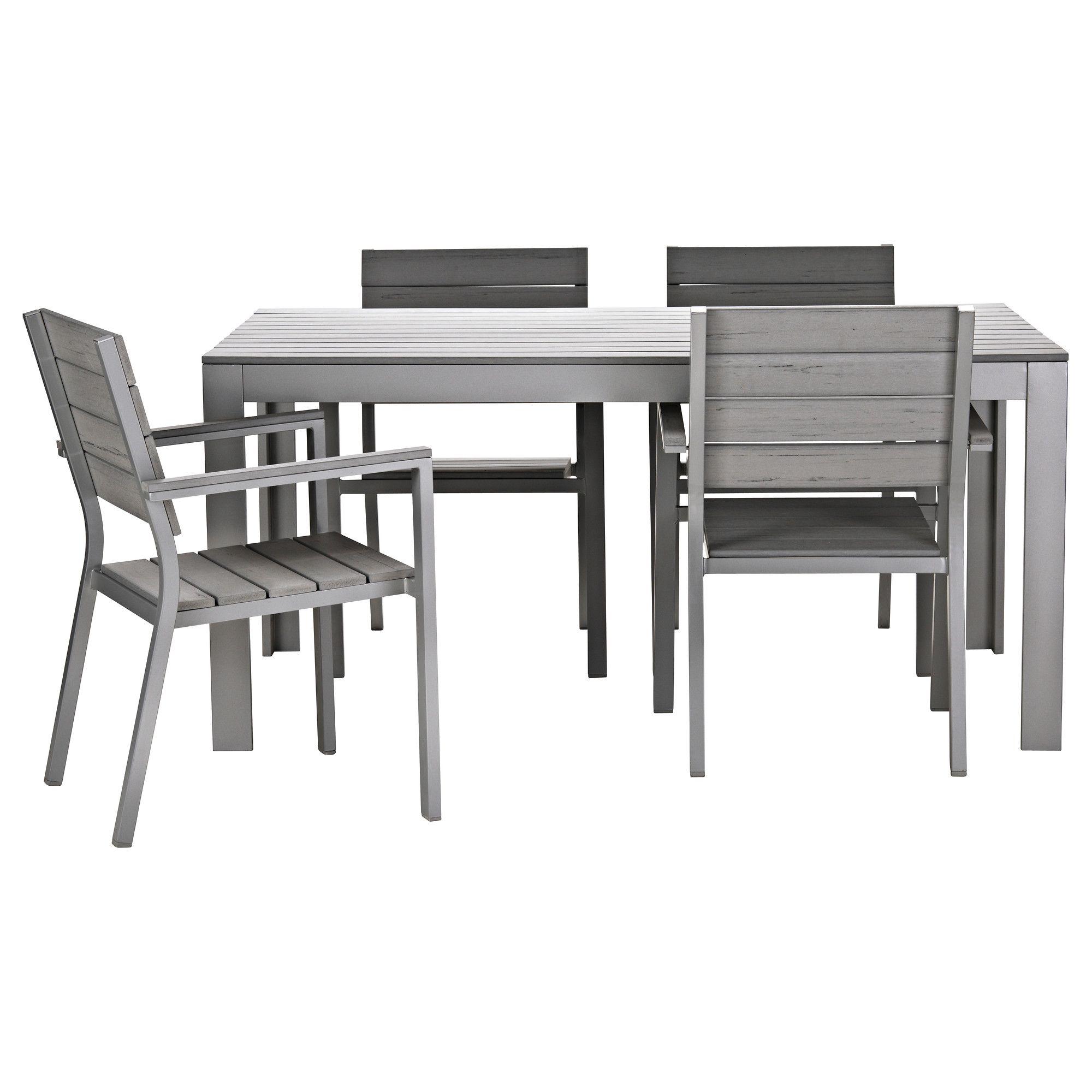 FALSTER Tafel en 4 armleunstoelen - grijs - IKEA