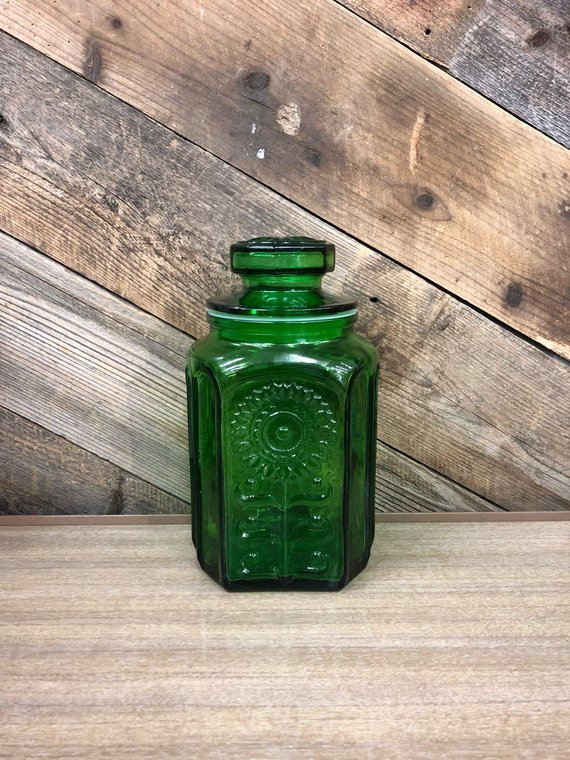Wheaton Glass Sunflower Canister / Kitchen Canister