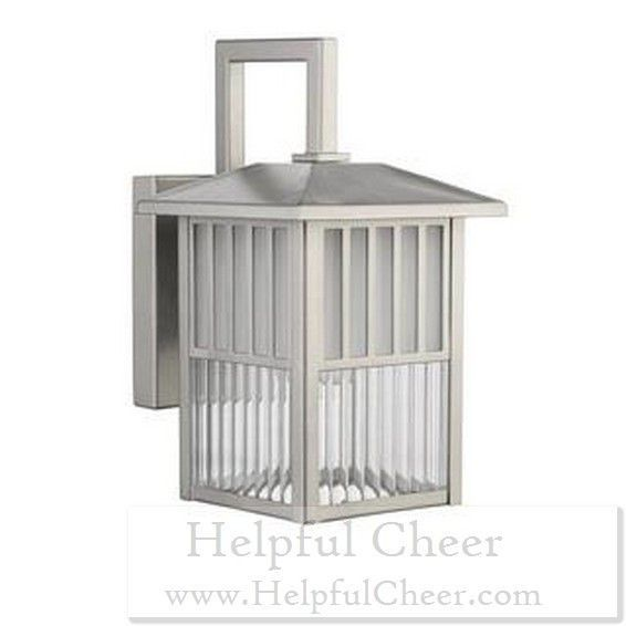 Transitional 1-light Outdoor Wall fixture in Painted Brushed Nickel - at - 015