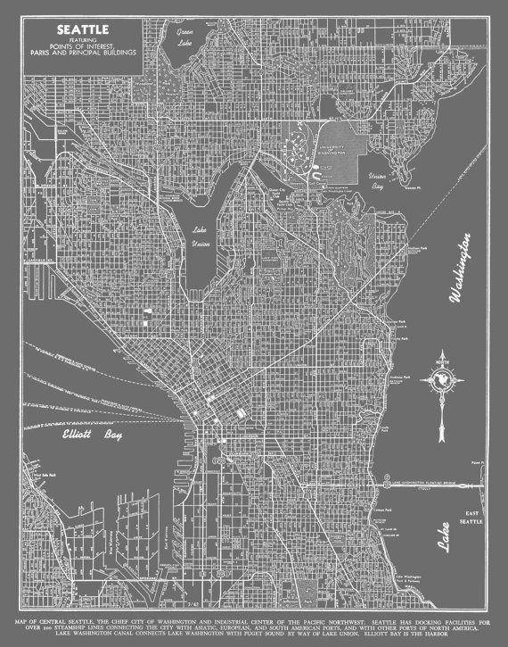 Seattle Seattle Map Art Poster Medium Gray Seattle Street Map