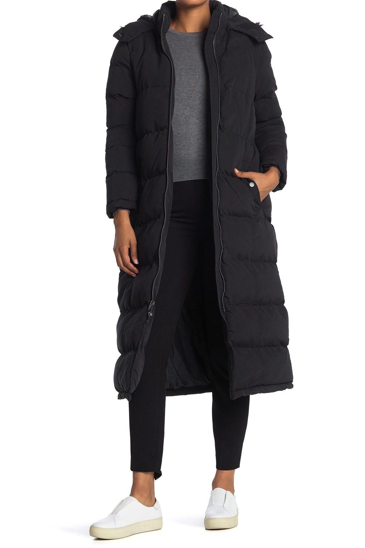 Andrew Marc Tambos Long Puffer Faux Fur Trim Jacket Nordstrom Rack In 2021 Long Black Puffer Coat Trim Jacket Puffer Jacket Long [ 1800 x 1200 Pixel ]