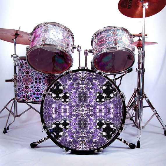 graphic drum skin for bass snare and tom drums amethyst flips drum art in purple and black. Black Bedroom Furniture Sets. Home Design Ideas