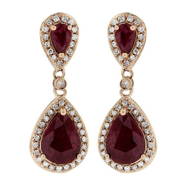 Effy Jewelry Gemma Rose Gold Ruby and Diamond Earrings, 2.98 TCW ($2,800) ❤ liked on Polyvore featuring jewelry, earrings, rubies, ruby earrings, ruby jewelry, womens jewellery, red gold jewelry y diamond jewelry