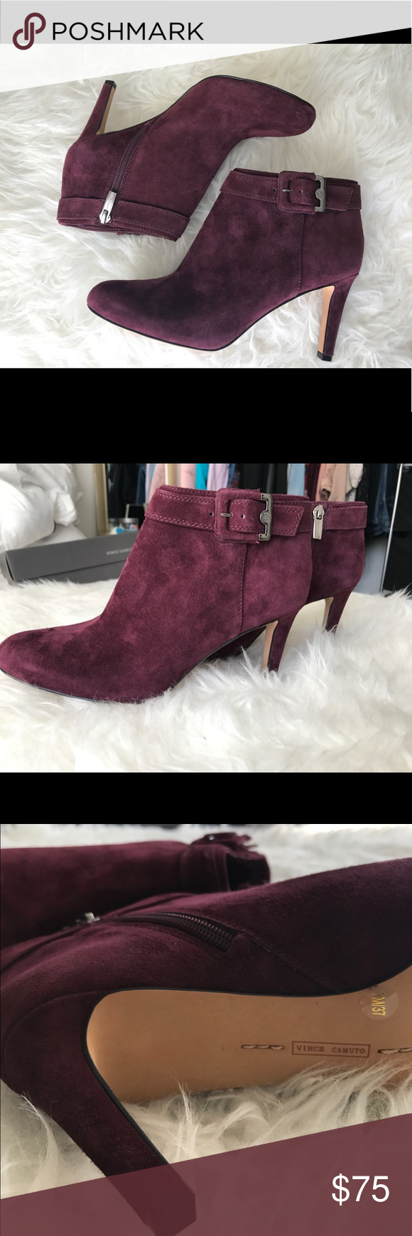 817ddaad148 NEW Vince Camuto  Chrissa  Suede Booties Brand New no Box. Size 7. Vince  Camuto Chrissa in Cabernet Suede. From the Nordstrom s website  A buckled  strap ...