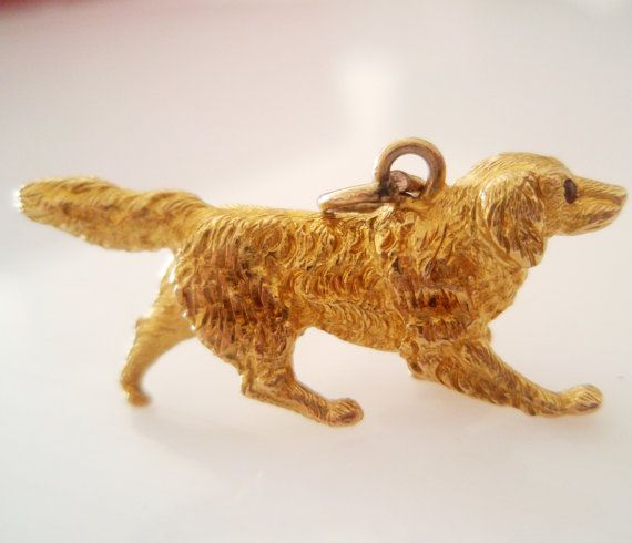 Large 9ct Gold Golden Retriever Dog Vintage By Truevintagecharms