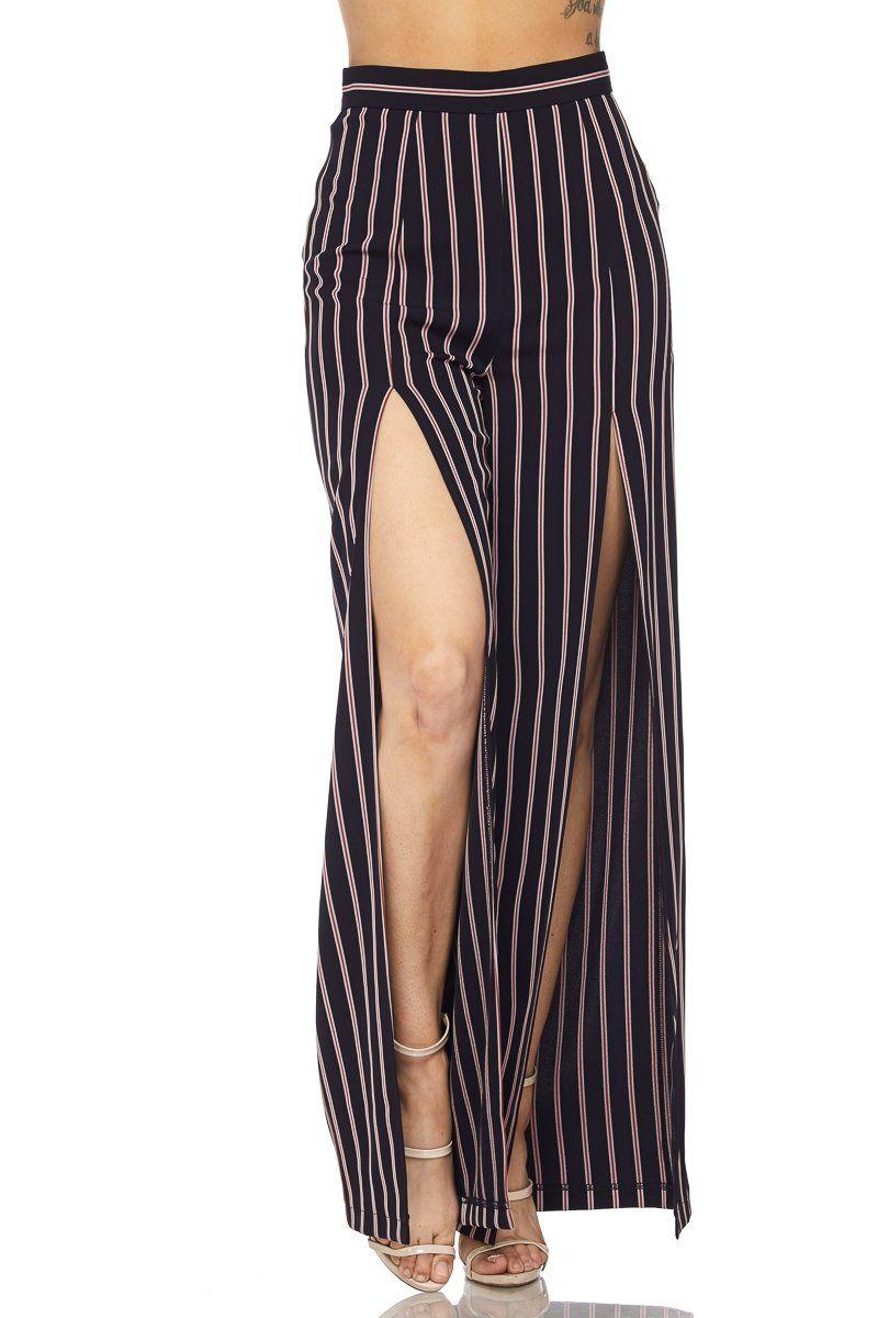 1e639d6e56 Front-slit stripe pants | Products | Striped pants, Pants, Trousers