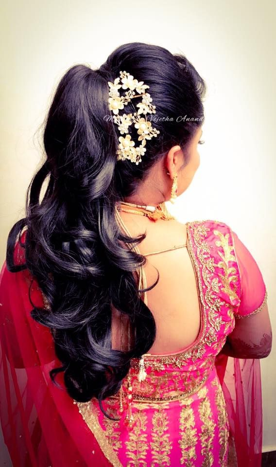 Indian Bride S Reception Hairstyle By Swank Studio Bridal Updo Curls Bridal Lehenga Hair A Indian Bridal Hairstyles Indian Bride Hairstyle Bride Hairstyles